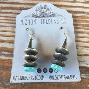 Navajo Pearl Turquoise & Sterling Silver Dangles
